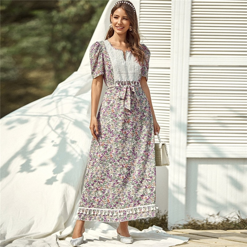 Floral Printed Belted Maxi Dress for Women