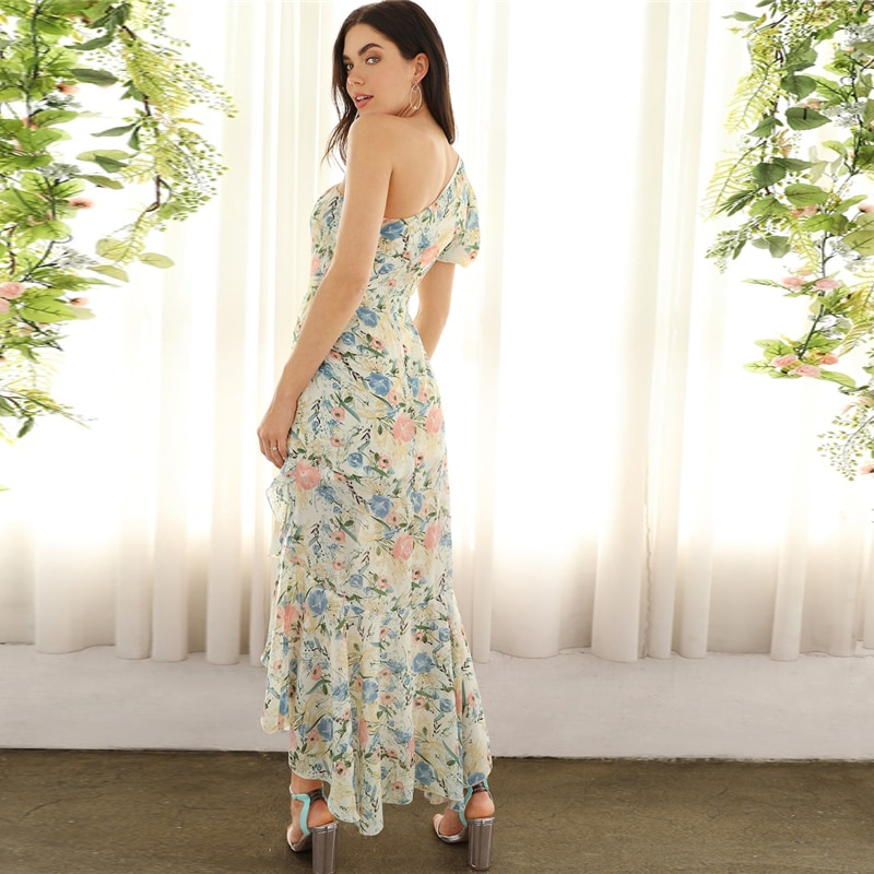 Women's Floral Printed Asymmetric Dress
