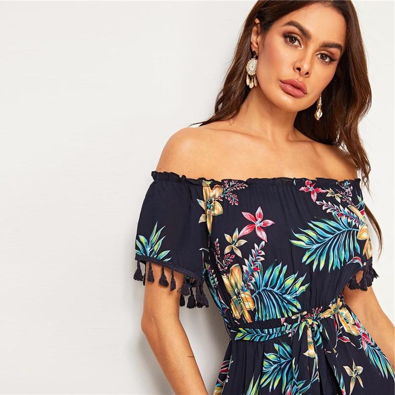 Women's Tropical Printed Off-Shoulder Dress