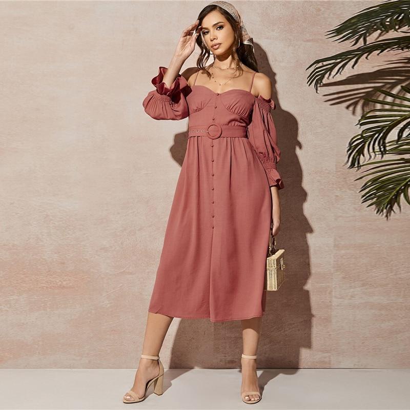 Women's Pink Off-Shoulder Dress