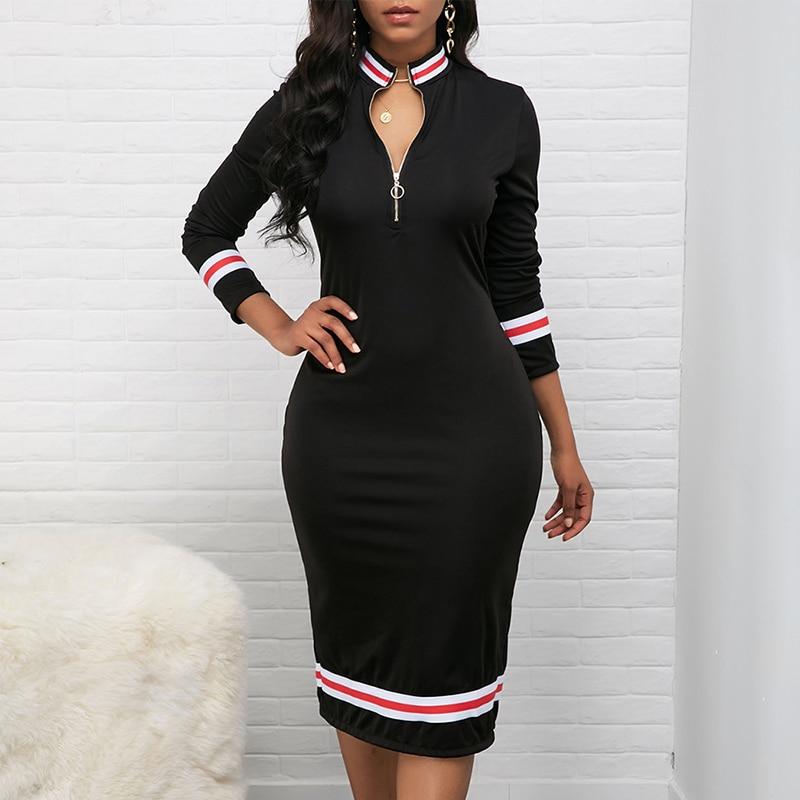 Women's Sport Style Dress with High Zipper Collar
