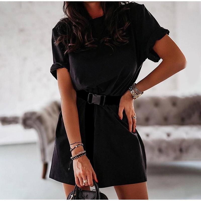 Summer Women's Shirt Style Mini Dress with Black Belt